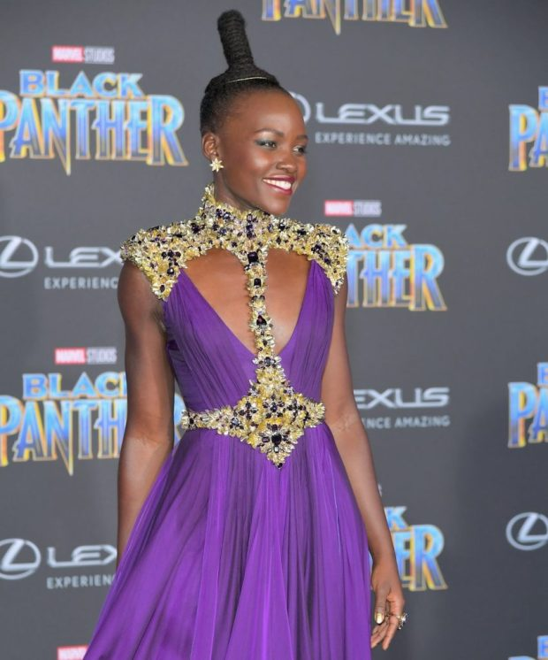 LOS ANGELES, CA - JANUARY 29: Lupita Nyong'o arrives for the World Premiere of Marvel Studios Black Panther, presented by Lexus, at Dolby Theatre in Hollywood on January 29th. (Photo by Charley Gallay/Getty Images for Lexus )