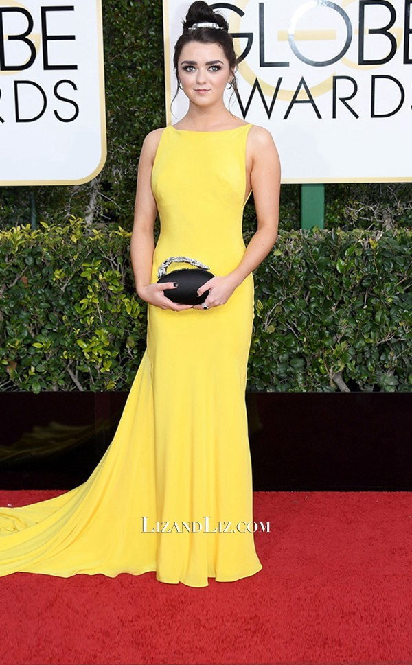 maisie-williams-yellow-dress-golden-globes-2017-1