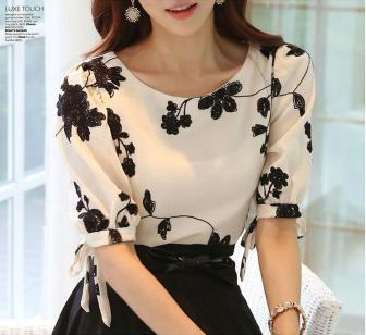 Women-Shirt-Summer-Tops-Floral-Black-White-Embroidered-Chiffon-Blouses-Plus-Size-Bow-Half-Sleeve-Shirt