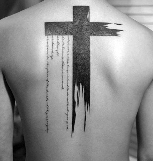 watercolor-blackork-simple-cross-mens-back-tattoo