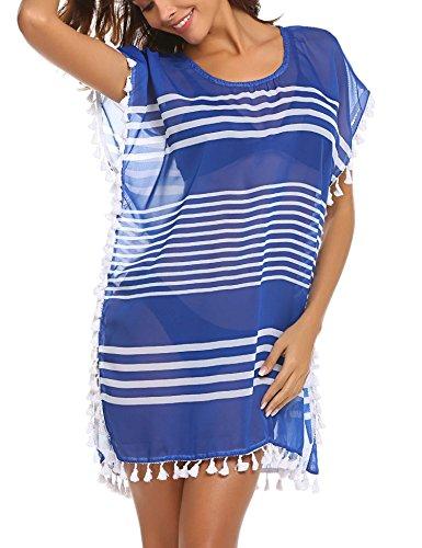 ADOME-Womens-Swimsuit-Chiffon-Bathing-Suit-Striped-Beachwear-Tassel-Beach-Cover-up-Blue-XL-0