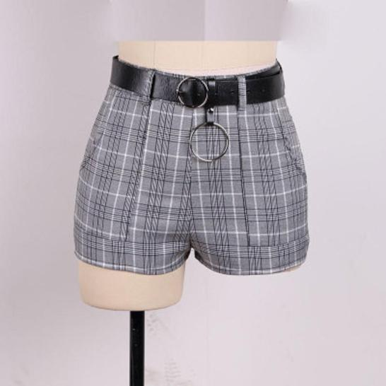 summer-women-shorts-grey-plaid-high-waist