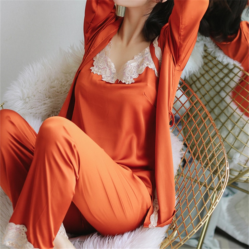 2019-Satin-Three-3-Pieces-Sleepwear-Female-Sexy-Lace-Silk-Pajamas-Set-Hollow-Out-Coat-Strap__83472_zoom